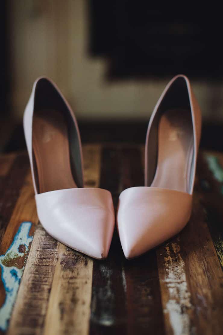 Romantic-Woodland-Wedding-Bride-Blush-Heels
