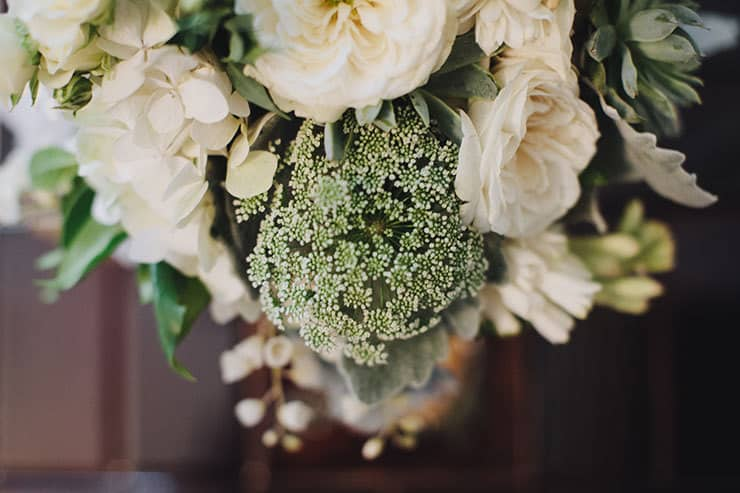 Romantic-Woodland-Wedding-Bride-Green-White-Bouquet-Flowers