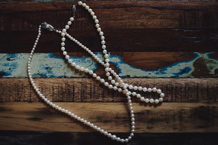 Romantic-Woodland-Wedding-Bride-Pearl-Necklace