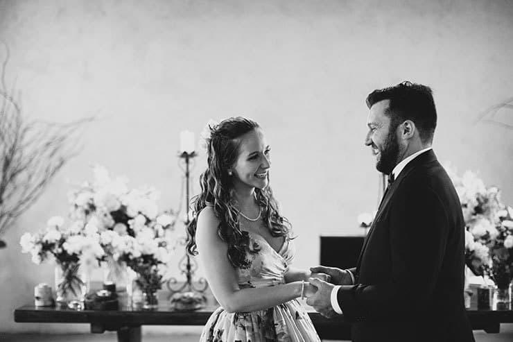 Romantic-Woodland-Wedding-Ceremony-Bride-Groom-Smiling