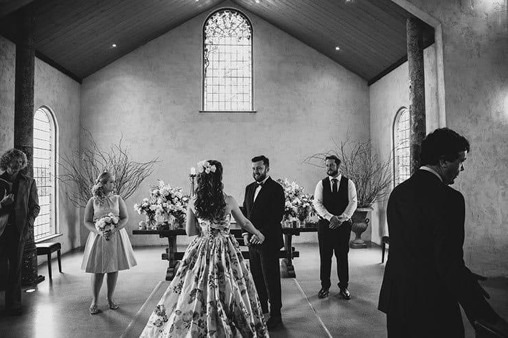 Romantic-Woodland-Wedding-Ceremony-Bride-Groom