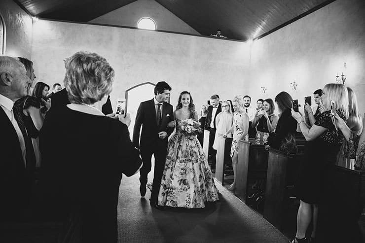 Romantic-Woodland-Wedding-Ceremony-Bride-Walking-Aisle