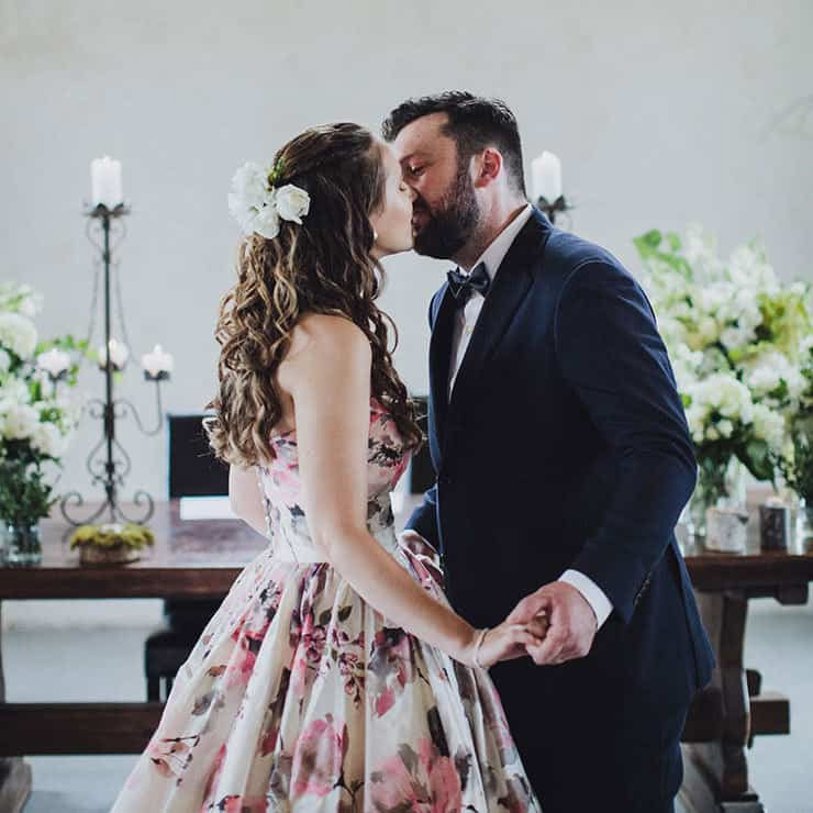 Romantic-Woodland-Wedding-Church-Ceremony-Bride-Groom-Kiss