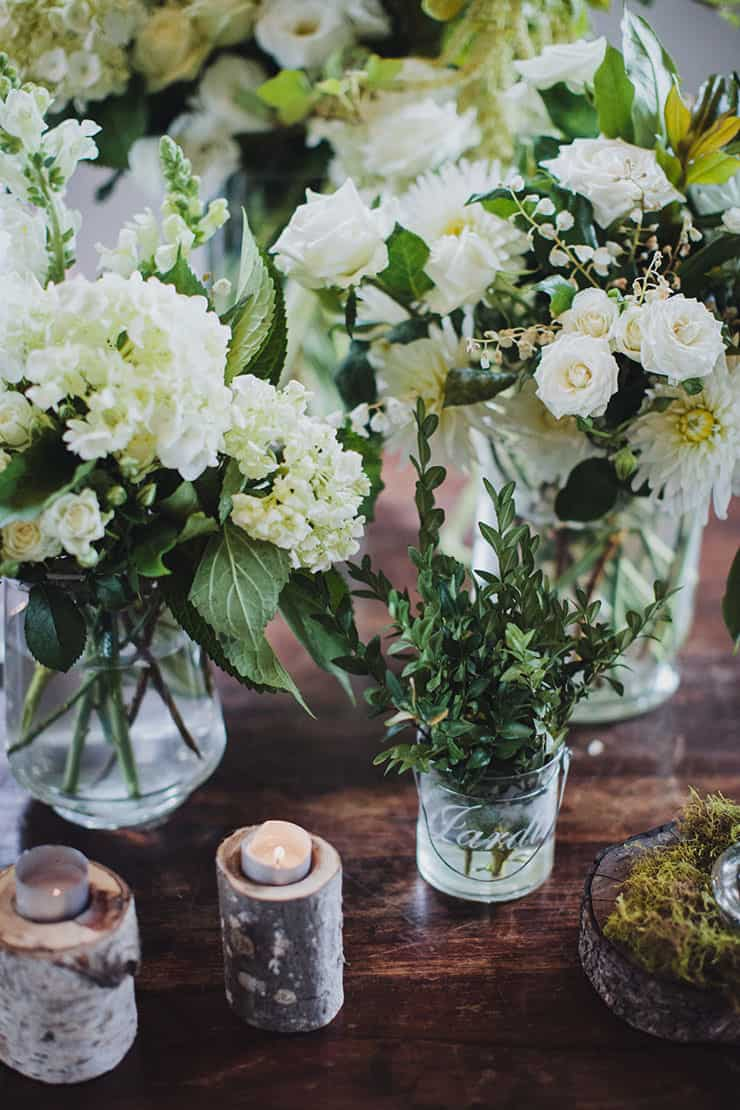 Romantic-Woodland-Wedding-Church-Ceremony-Styling-Green-White-Flowers