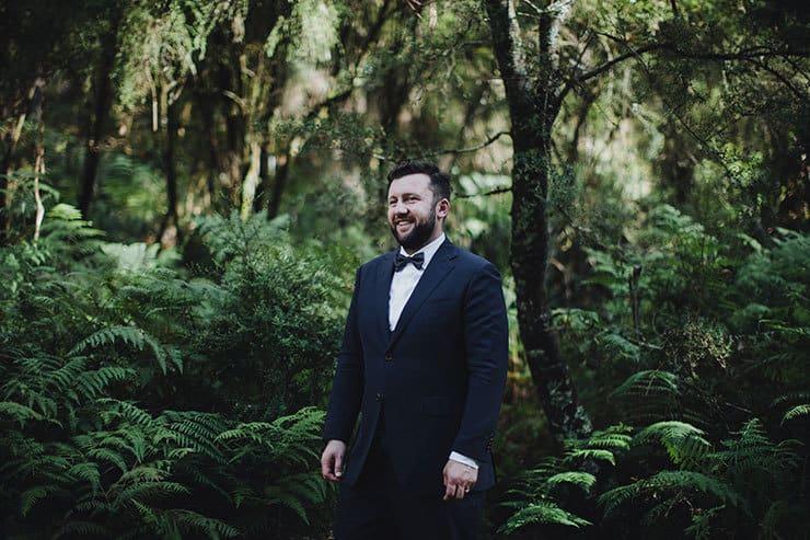 Romantic-Woodland-Wedding-Groom-Navy-Suit-Bow-Tie