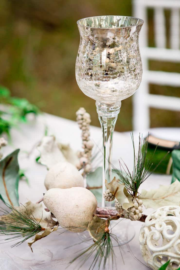 Woodland wedding reception decor