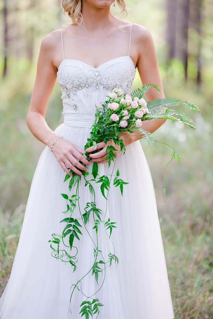 Cascading rose and fern bouquet