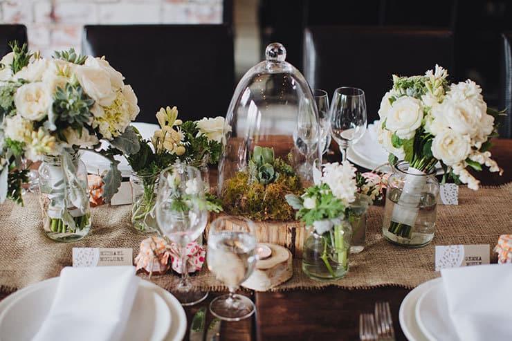 Romantic-Woodland-Wedding-Reception-Venue-Styling-Succulent-Cloche-Centrepiece