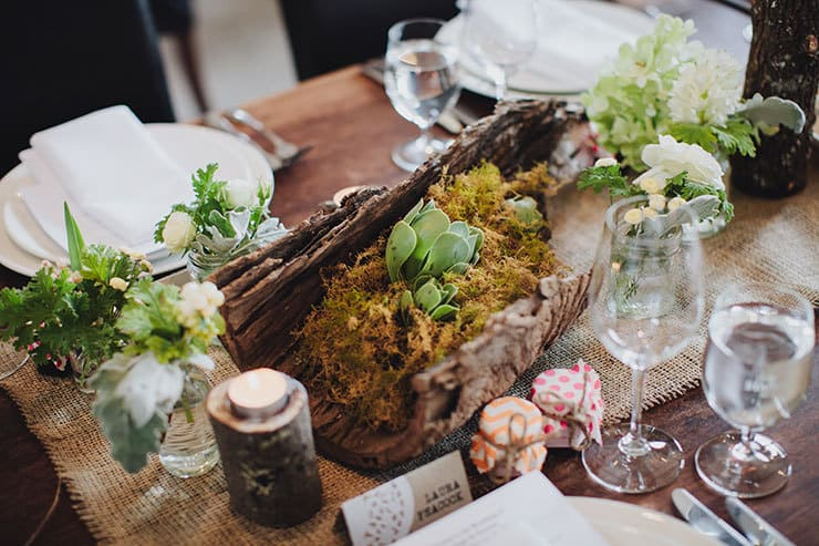 Romantic-Woodland-Wedding-Reception-Venue-Styling-Succulent-Moss-Centrepiece