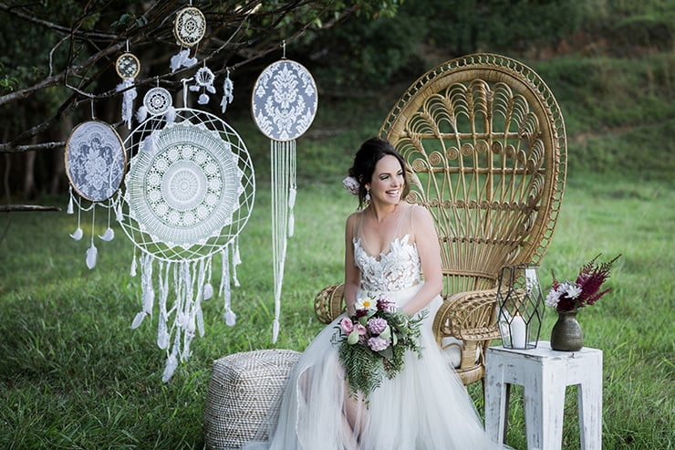 Rustic Boho Wedding Inspiration In Blush And Olive