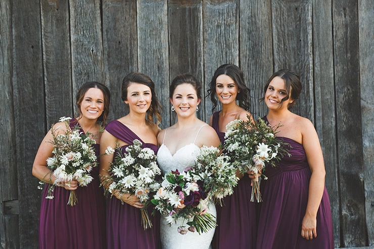 Rustic-Burgundy-Country-Wedding-Bride-Bridesmaids-Bouquets