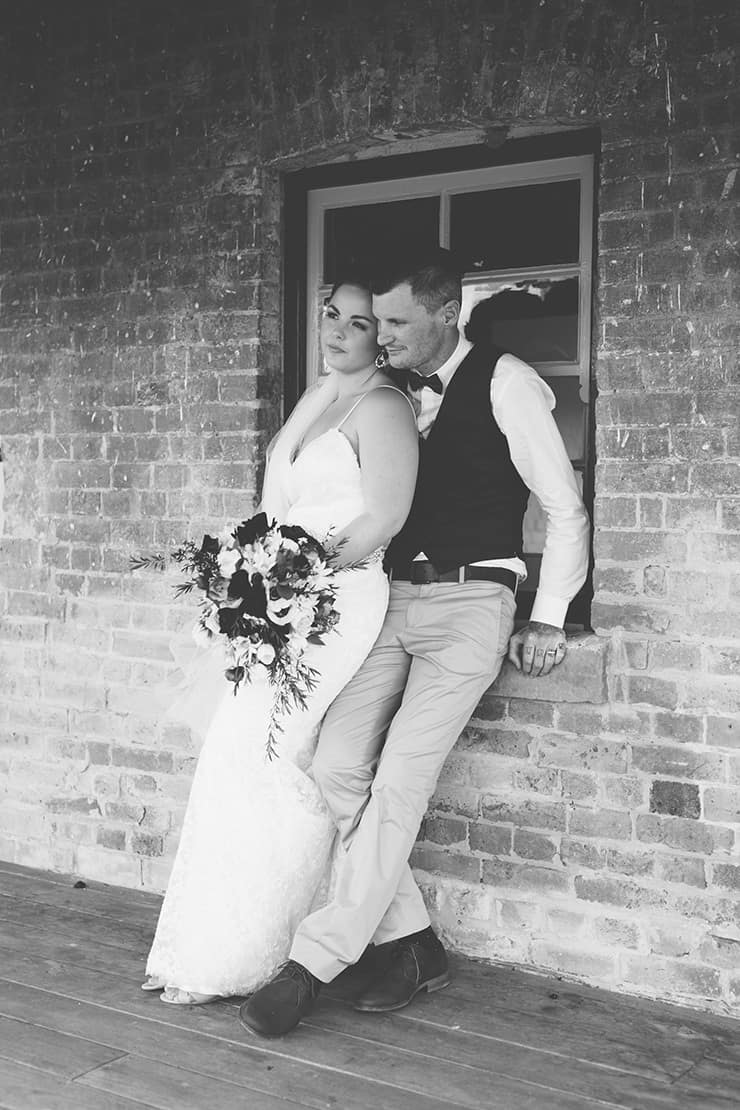 Rustic-Burgundy-Country-Wedding-Bride-Groom-Portrait-Black-White-2