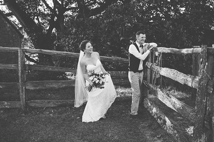 Rustic-Burgundy-Country-Wedding-Bride-Groom-Portrait-Black-White