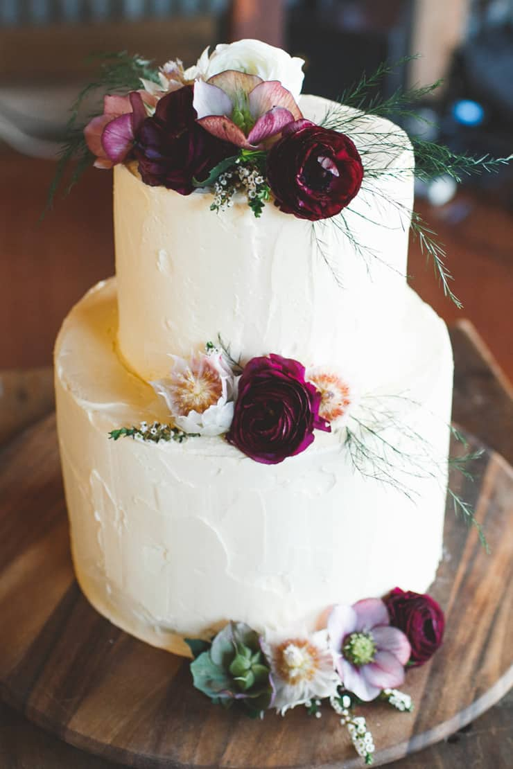 Rustic Burgundy Country Wedding Buttercream Cake Flowers The
