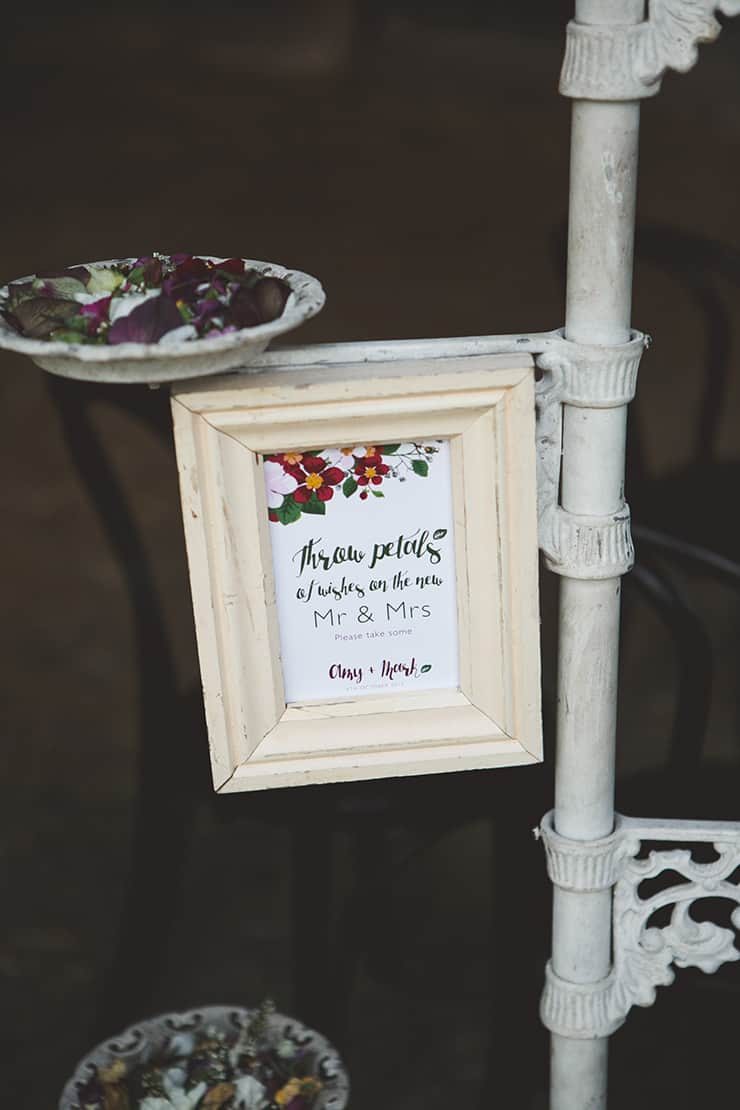 Rustic-Burgundy-Country-Wedding-Ceremony-Petal-Station