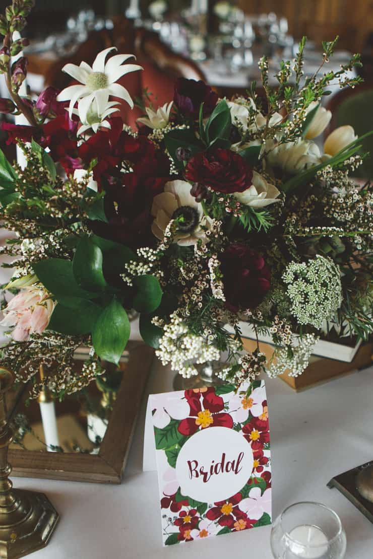 Rustic Burgundy Country Wedding Reception Centrepiece 2 The