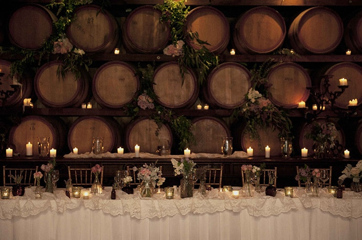 Rustic Lavender Winery Wedding Reception Bridal Table Styling The