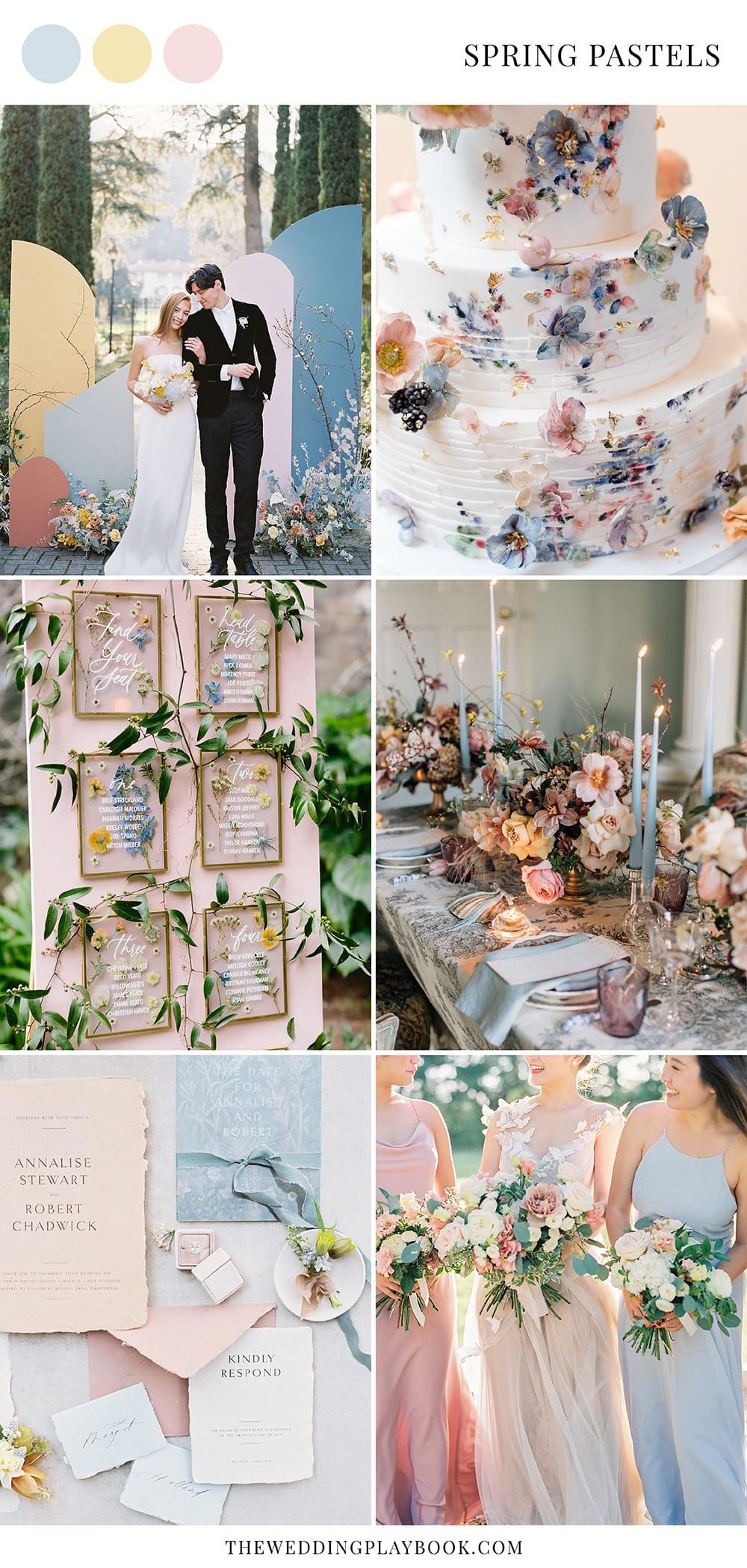 Romantic spring pastel wedding ideas in pale blue, blush pink and butter yellow