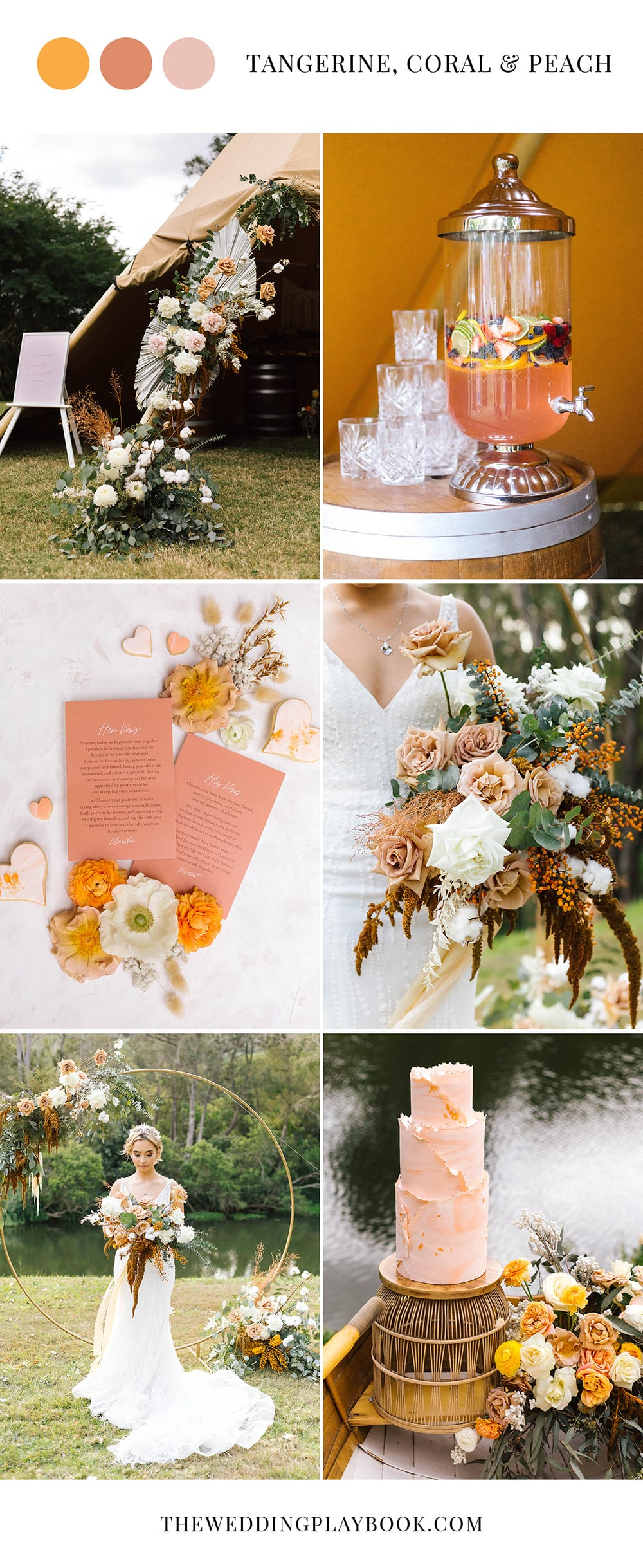 Romantic Riverside Boho Wedding Inspiration in Tangerine, Coral & Peach | Photography: Poppy and Sage