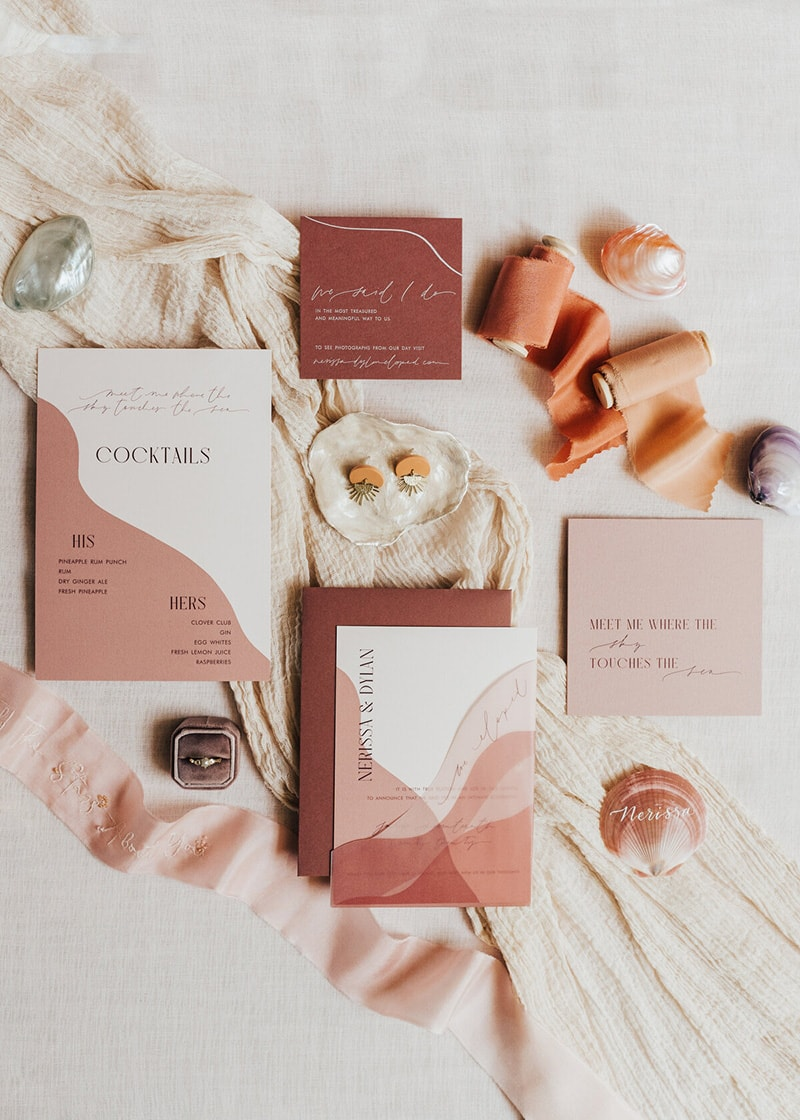 Romantic Boho Terracotta Wedding Ideas | A modern wedding stationery suite featuring clay and terracotta tones, soft curves and elongated fine line script paired with a thin vintage serif font in all caps. | Photography: Rebecca Carpenter via The Stars Inside