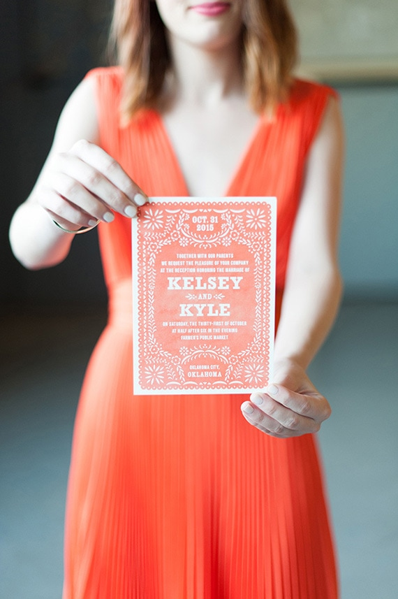 Mexican fiesta inspired wedding invitation in bright coral | Ely Fair Photography via Ruffled