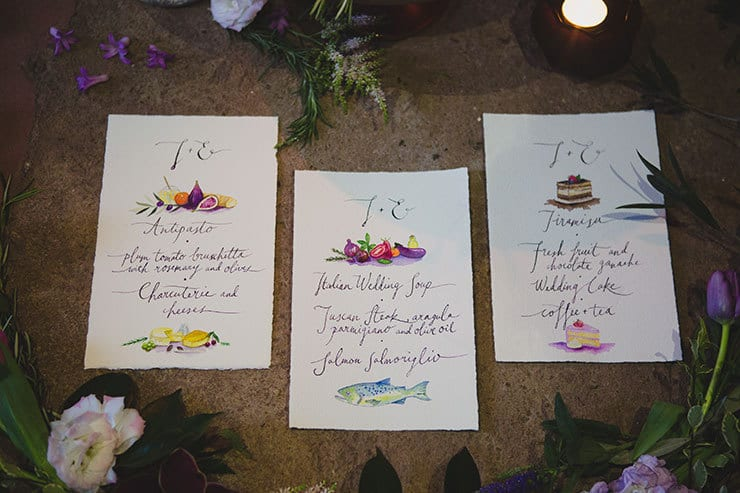 Tuscan-Plum-Wedding-Inspiration-Menu