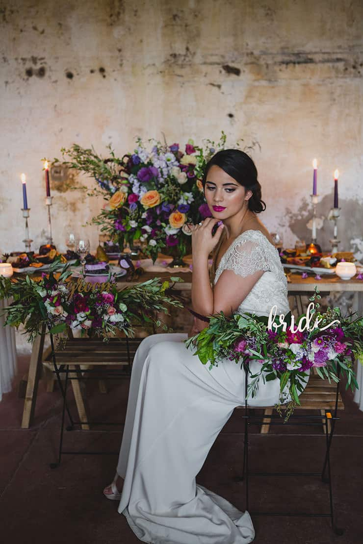 Tuscan-Plum-Wedding-Inspiration-Reception-Bride