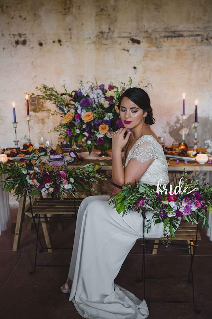 Tuscan-Plum-Wedding-Inspiration-Reception-Bride