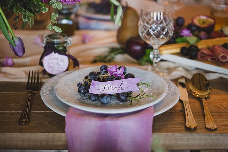 Tuscan-Plum-Wedding-Inspiration-Reception-Place-Setting