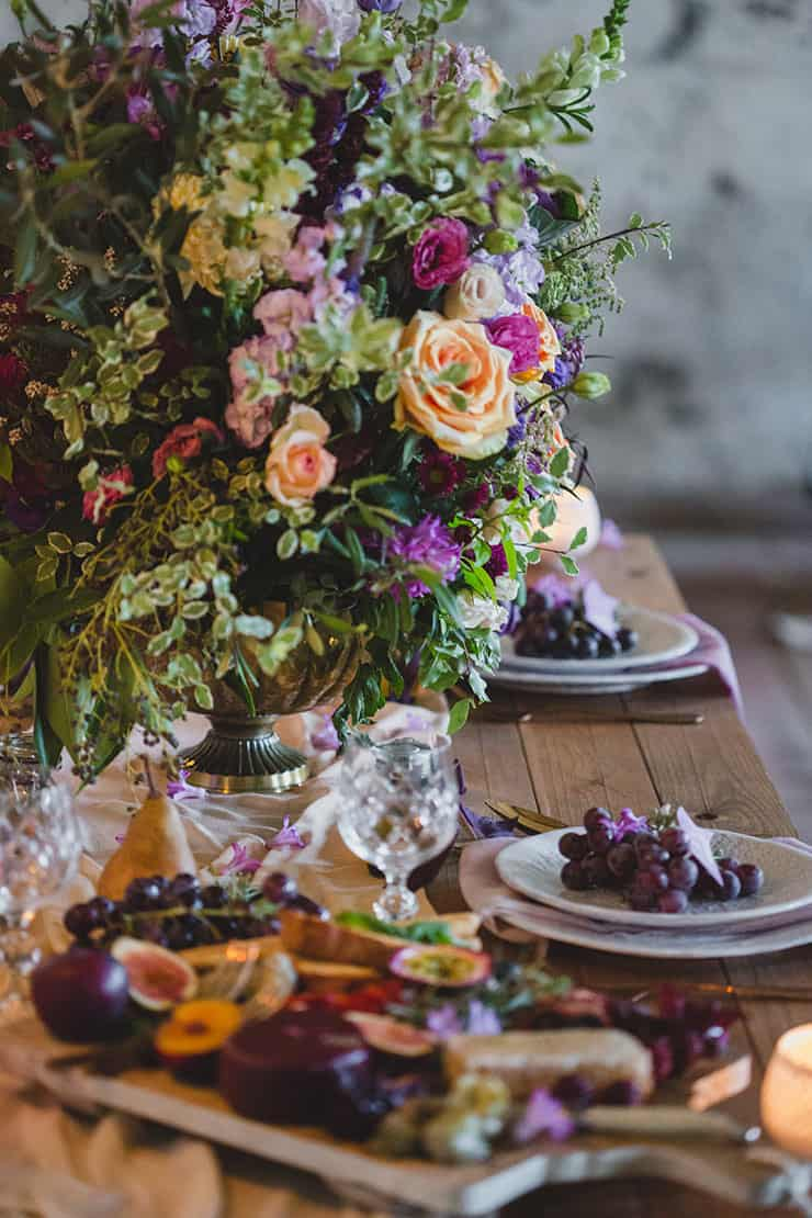 Tuscan-Plum-Wedding-Inspiration-Reception-Table-Centrepiece