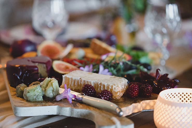 Tuscan-Plum-Wedding-Inspiration-Reception-Table-Gourmet-Food-Platter