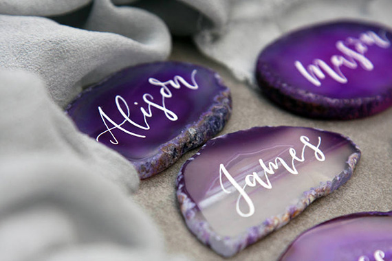 Ultra Violet agate place cards with white calligraphy | Fox and Heart