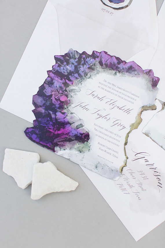 Ultra Violet amethyst geode wedding invitation | Illustrated Weddings via Brides of North Texas