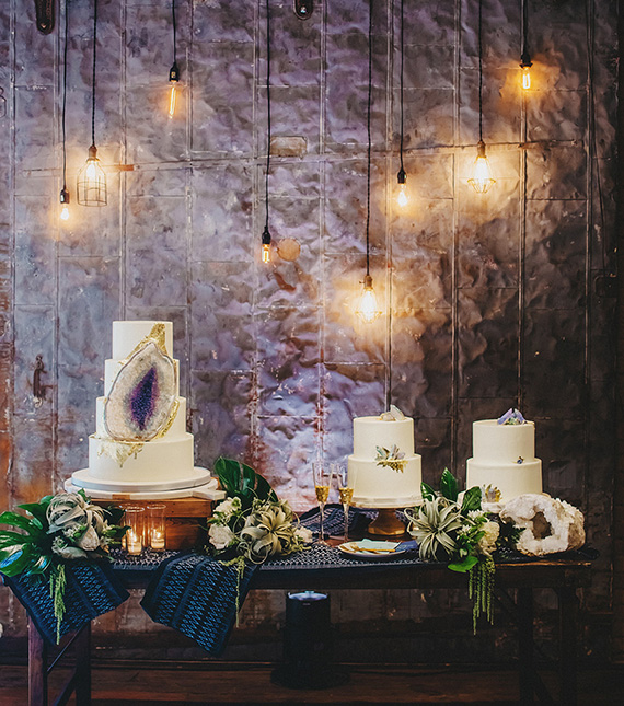 Ultra Violet amethyst geode wedding cake display | Two Pair Photography via Brides of Austin