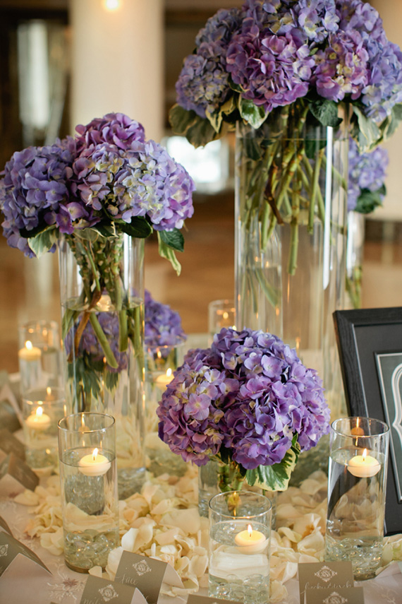 Ultra Violet hydrangea wedding reception centrepiece | Kristyn Hogan via Elizabeth Anne Designs
