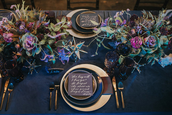 Ultra Violet, navy and gold wedding reception table setting | Hazelwood Photo via 100 Layer Cake