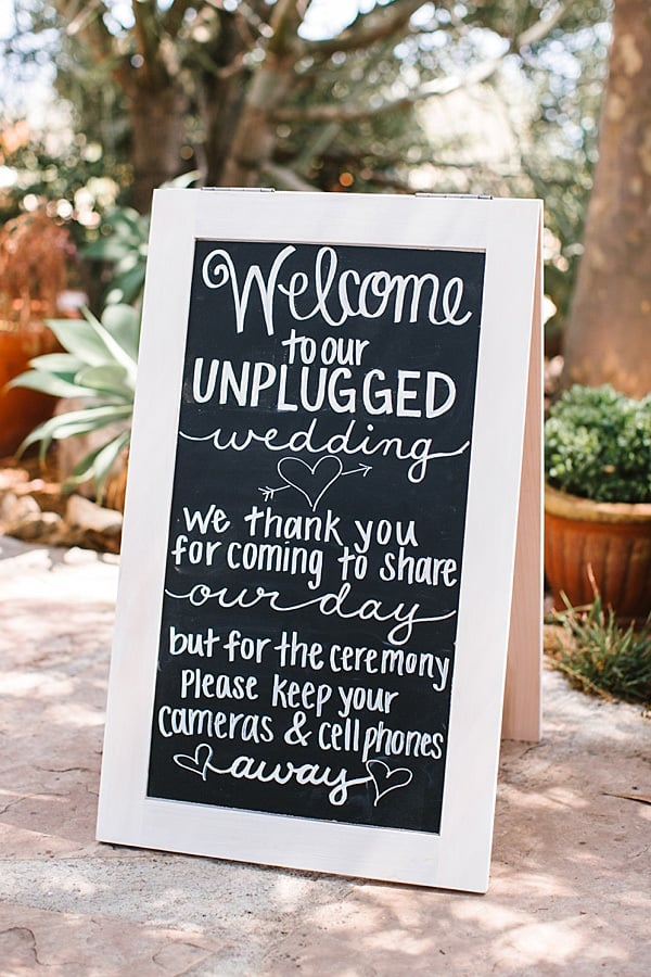 Unplugged Wedding Ceremony Sign | Josh Elliott Photography via Southern California Bride
