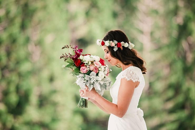 Vibrant-Heartfelt-Bohemian-Wedding-Bride-Bouquet-Flower-Crown
