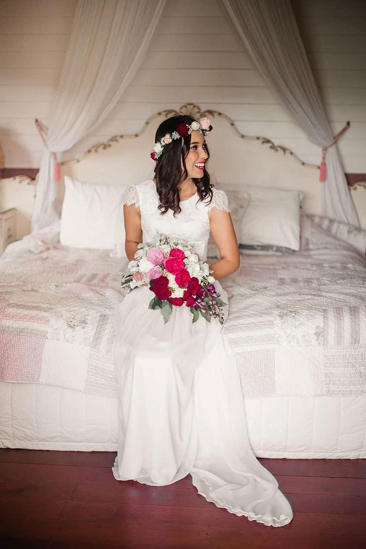 Vibrant-Heartfelt-Bohemian-Wedding-Bride-Dress-Bouquet-Flower-Crown