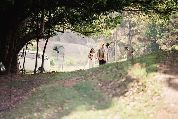 Vibrant-Heartfelt-Bohemian-Wedding-Bride-Father-Walking-Aisle