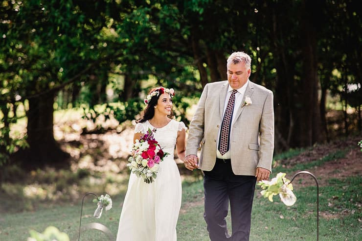 Vibrant-Heartfelt-Bohemian-Wedding-Bride-Father-Walking-Ceremony-Aisle
