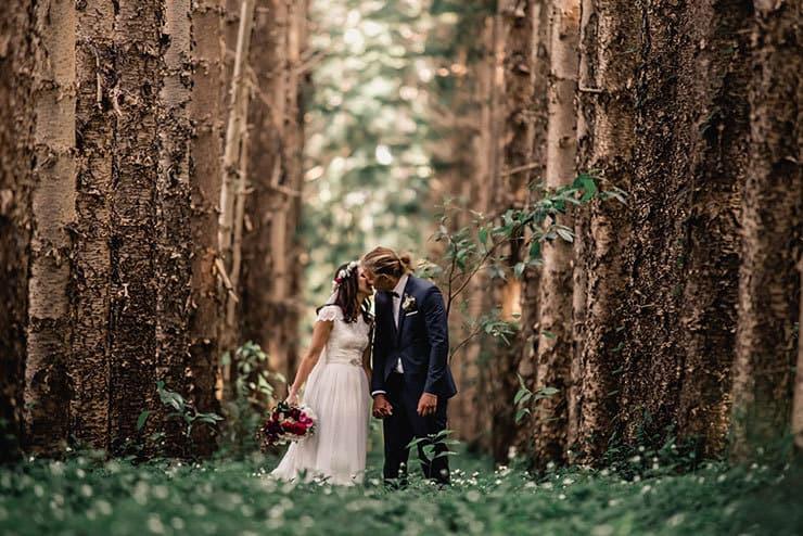 Vibrant-Heartfelt-Bohemian-Wedding-Bride-Groom-Woodland-Portrait-2