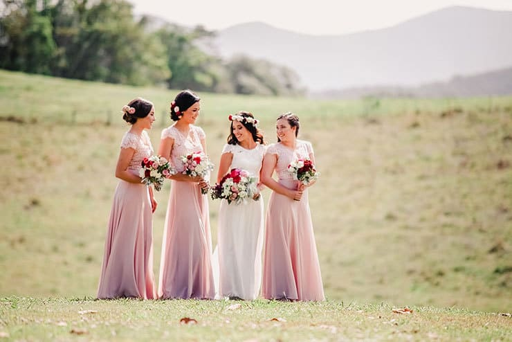 Vibrant-Heartfelt-Bohemian-Wedding-Bride-Pink-Bridesmaid-Dresses