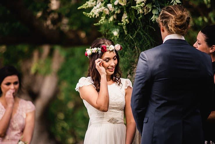 Vibrant-Heartfelt-Bohemian-Wedding-Ceremony-Bride-Tearful-Moment