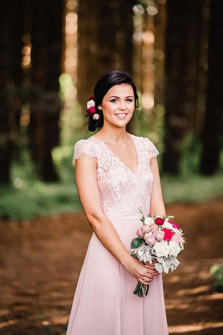 Vibrant-Heartfelt-Bohemian-Wedding-Pink-Bridesmaid-Dress-Hair