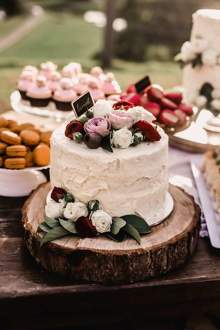 Vibrant-Heartfelt-Bohemian-Wedding-Reception-Dessert-Table-Cake-Red-Pink-Roses