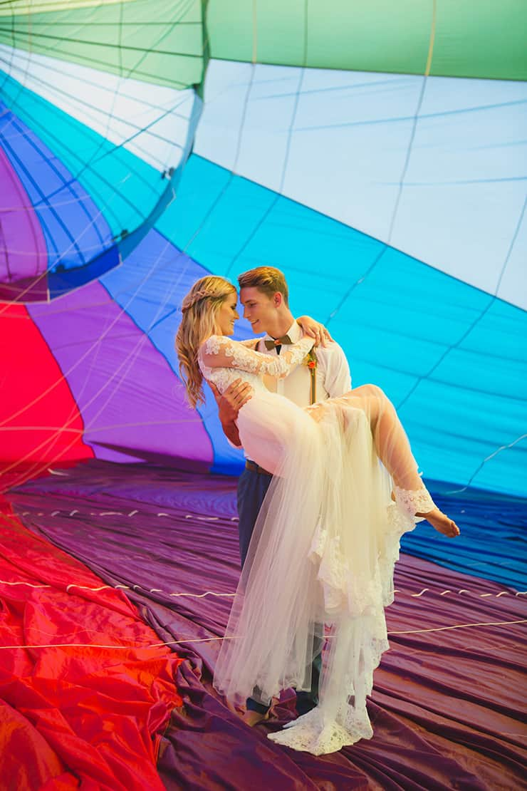 Vibrant Hot Air Balloon Wedding Inspiration The Wedding