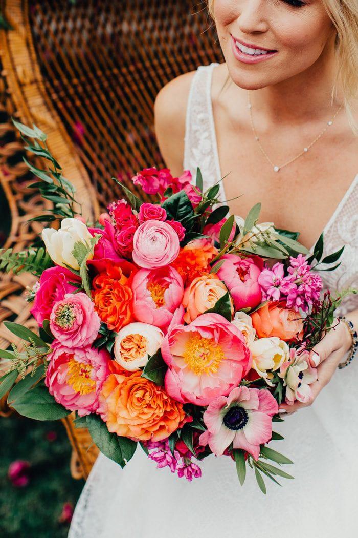 Vibrant Pink & Orange Wedding Inspiration | Bouquet: Ashley Paige Photography via Junebug Weddings