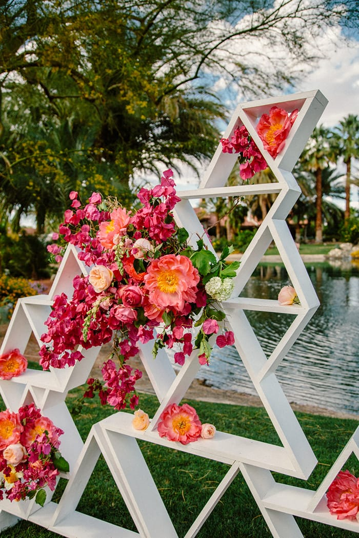 Vibrant Pink & Orange Wedding Inspiration | Ceremony Setting: The Melideos via Ruffled