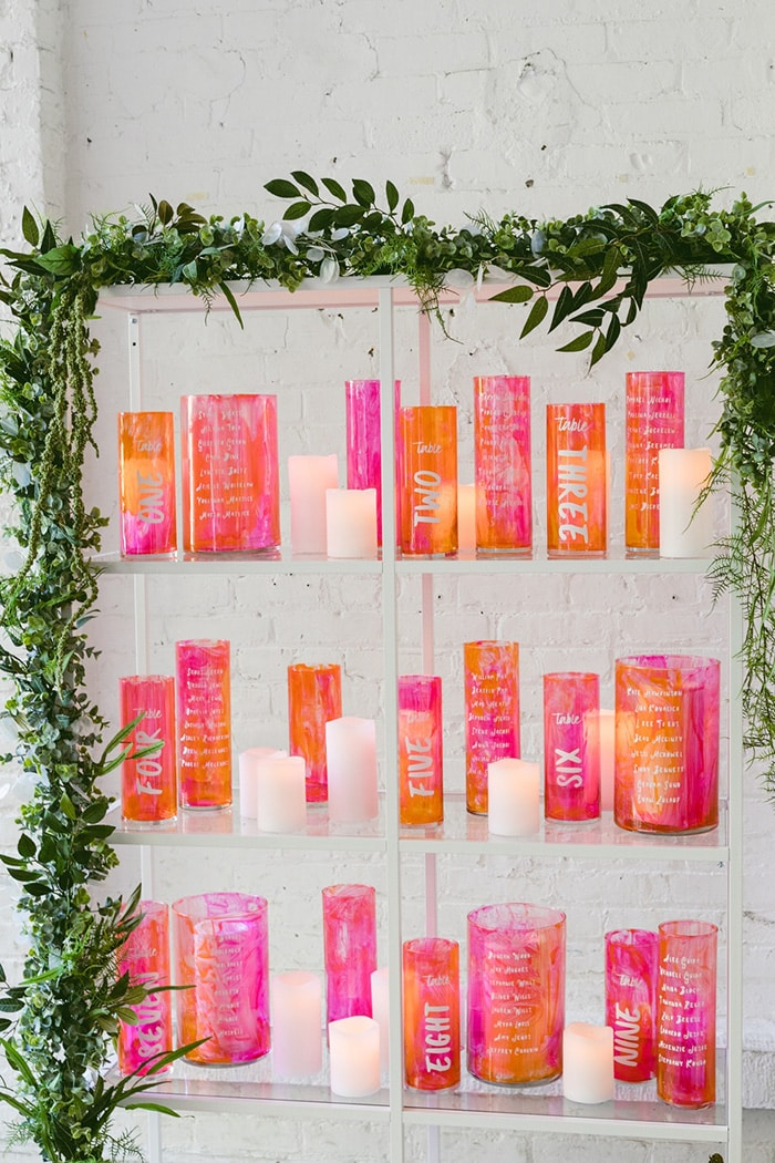 Vibrant Pink & Orange Wedding Inspiration | Seating Plan: Ruffled